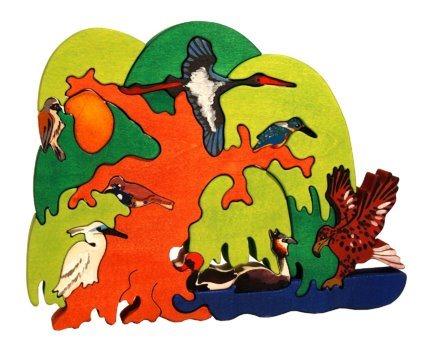 FAUNA Dřevěné puzzle Ptačí strom: Evropští vodní ptáci
