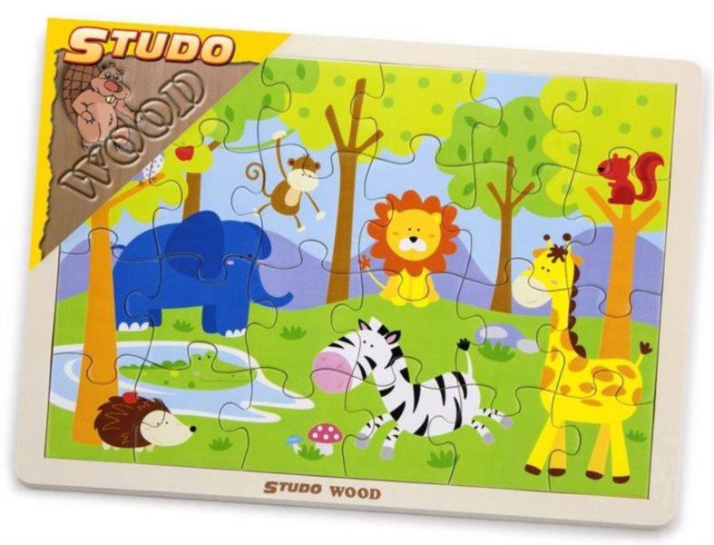 STUDO WOOD Dřevěné puzzle Safari 24 dílků