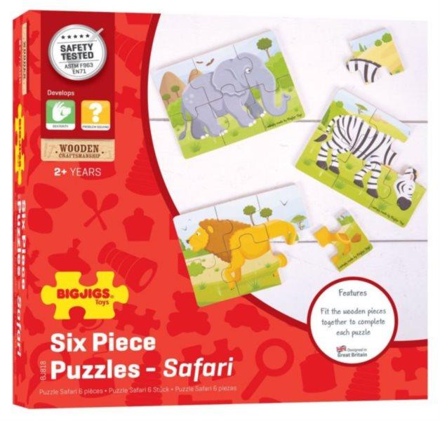 BIGJIGS Dřevěné puzzle Safari 3x6 dílků