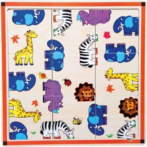 SMALL FOOT Dřevěné puzzle Safari 9 dílků