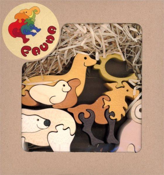 Dřevěné puzzle z masivu FAUNA Severská zvířata (mix)