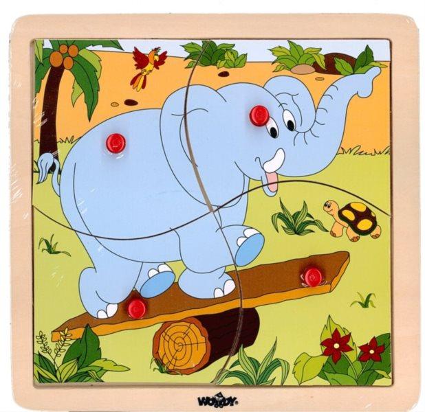 WOODY Dřevěné puzzle Slon 4 dílky