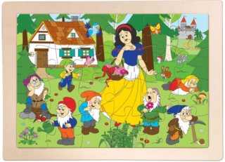 WOODY Dřevěné puzzle Sněhurka, 24 dílků