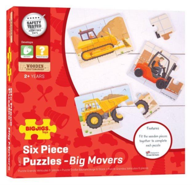 BIGJIGS Dřevěné puzzle Stavební stroje 3x6 dílků