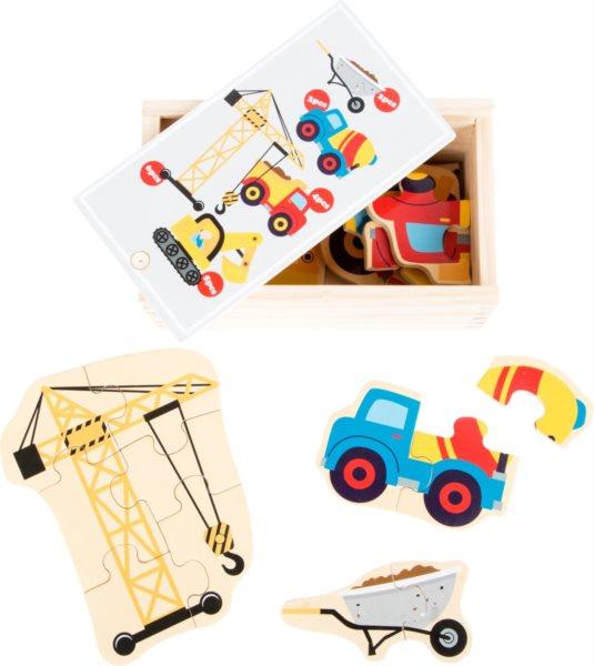 SMALL FOOT Dřevěné puzzle Stavební stroje 5v1 (2-6 dílků)