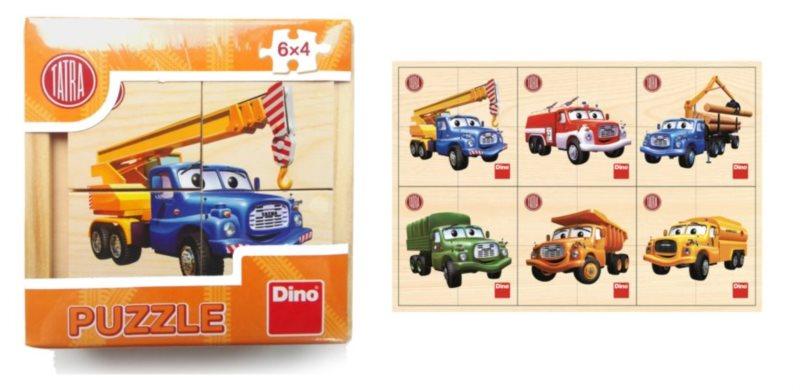 DINO Dřevěné puzzle Tatra 6x4 dílky