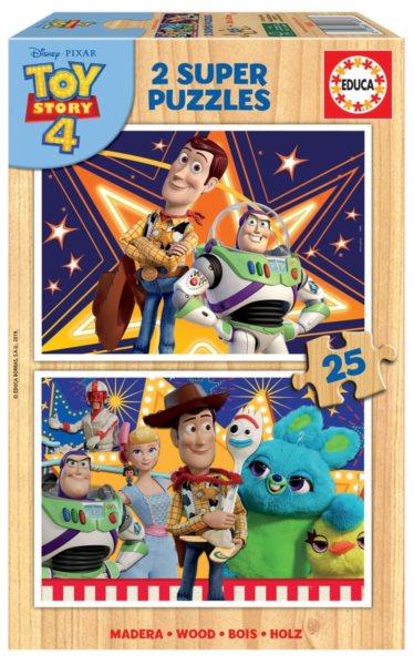 EDUCA Dřevěné puzzle Toy Story 4: Příběh hraček 2x25 dílků