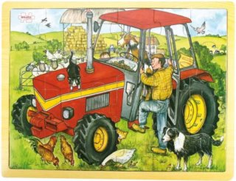 BIGJIGS Dřevěné puzzle Traktor 24 dílků