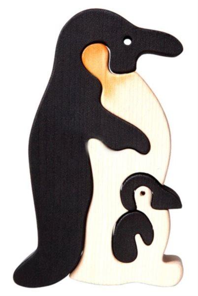 FAUNA Dřevěné puzzle Tučňák s mládětem