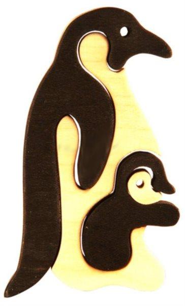 FAUNA Dřevěné puzzle Tučňák s mládětem malý