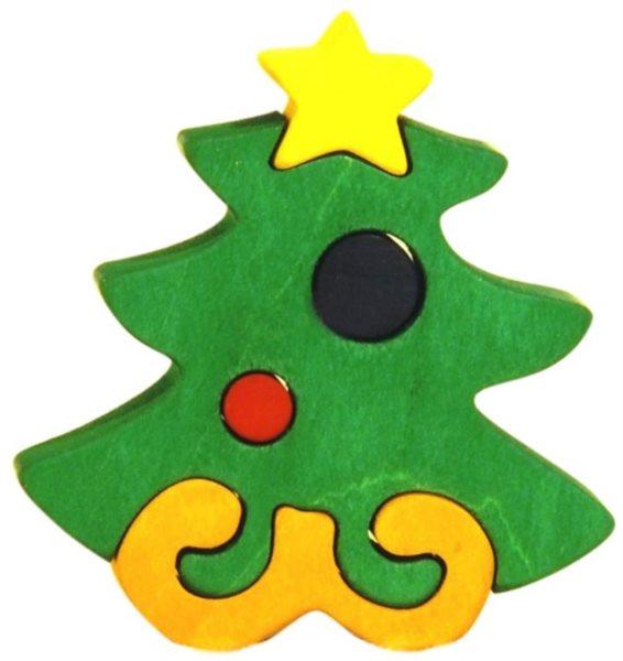 FAUNA Dřevěné puzzle Vánoční stromeček malý