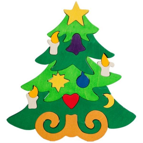 FAUNA Dřevěné puzzle Vánoční stromeček velký