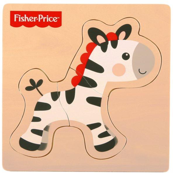 FISHER-PRICE Dřevěné puzzle Zebra 3 dílky