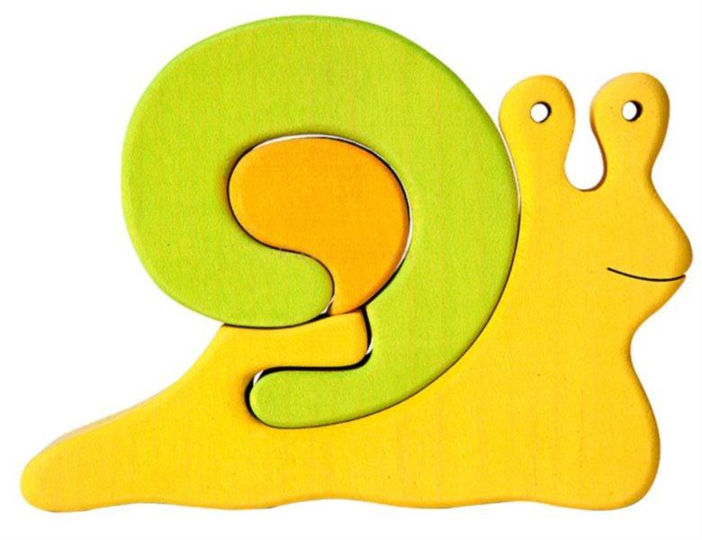 FAUNA Dřevěné puzzle Zelený šnek