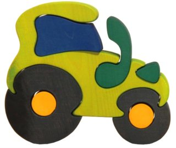 FAUNA Dřevěné puzzle Zelený traktor