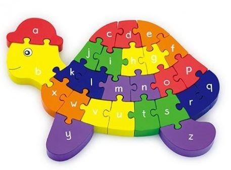 VIGA Dřevěné puzzle Želva s abecedou