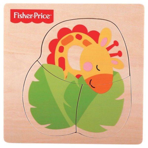 FISHER-PRICE Dřevěné puzzle Žirafa 3 dílky