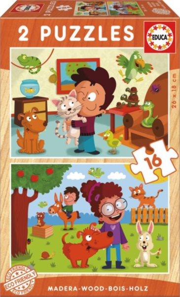EDUCA Dřevěné puzzle Zvířata kolem nás 2x16 dílků