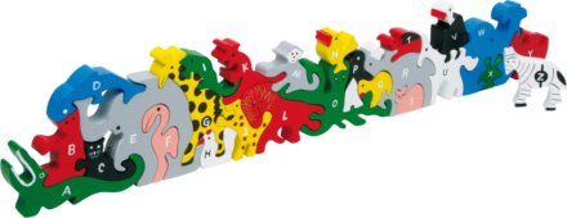 SMALL FOOT Dřevěné puzzle Zvířata s abecedou a čísly