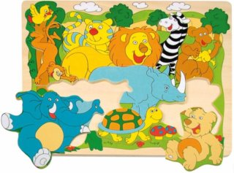 WOODY Dřevěné puzzle pro děti Zvířata ze ZOO, 9 dílků