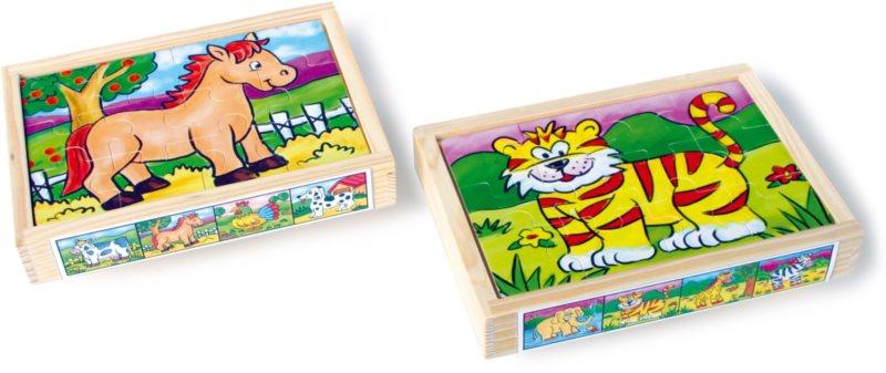 SMALL FOOT Dřevěné puzzle Zvířátka 2v1 8x12 dílků