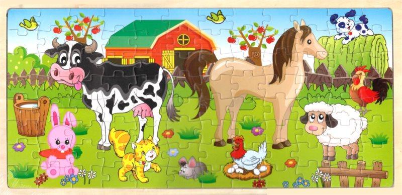 Dřevěné puzzle Na farmě 96 dílků