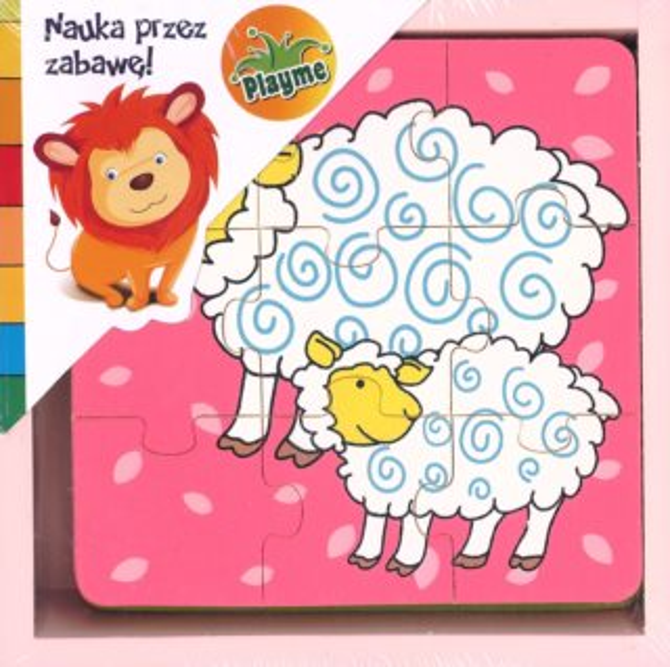 PLAYME Dřevěné puzzle Zvířátka (růžová krabička) 4x9 dílků