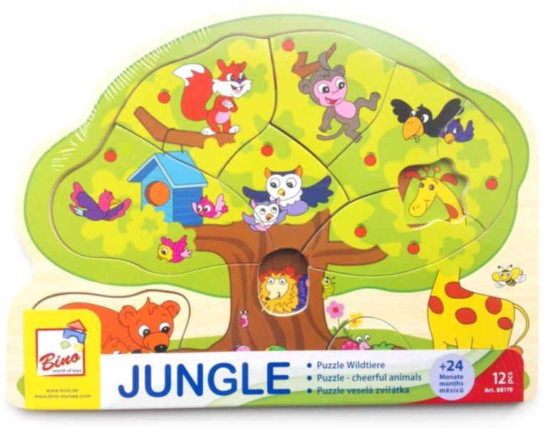 BINO Dřevěné vkládací puzzle Veselá zvířátka