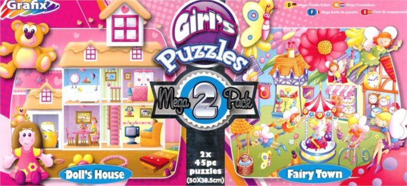 GRAFIX Puzzle Dům pro panenky & Vílí město 2x45 dílků