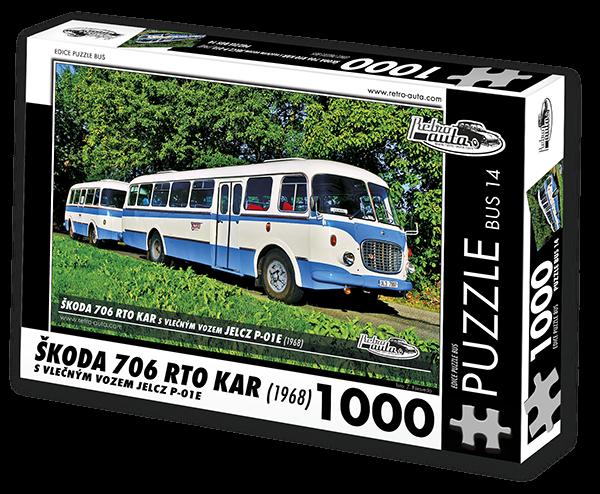 RETRO-AUTA Puzzle BUS č. 14 Škoda 706 RTO KAR (1968) 1000 dílků