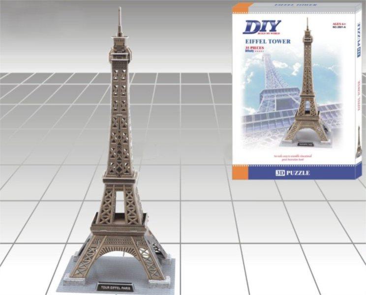 DIY poškozený obal: 3D puzzle Eiffelova věž, Paříž