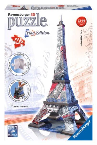 3D puzzle RAVENSBURGER 216 dílků - Eiffelova věž 3D (vlajková edice)