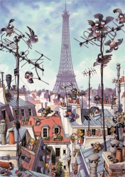 Puzzle HEYE 1000 dílků - Loup, Eiffelova věž