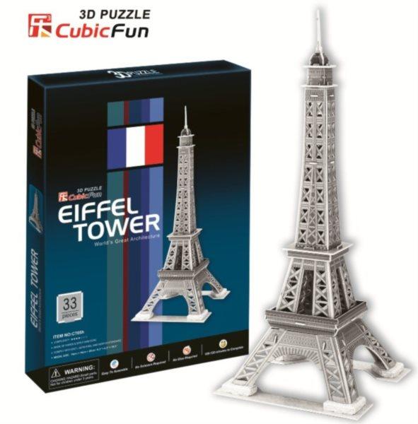 3D puzzle CUBICFUN - Eiffelova věž stříbrná 3D, Paříž