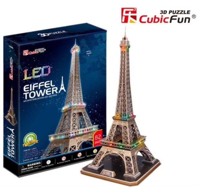 poškozený obal: 3D puzzle CUBICFUN - Eiffelova věž, Paříž - svítící LED 3D