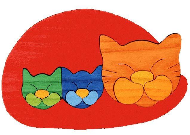 FAUNA Dřevěné puzzle Červená kočička s koťátky velká