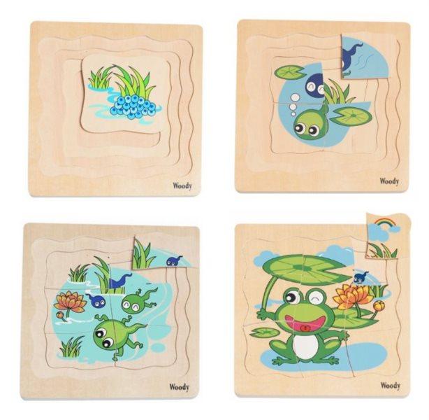 WOODY Vývojové dřevěné puzzle Žába