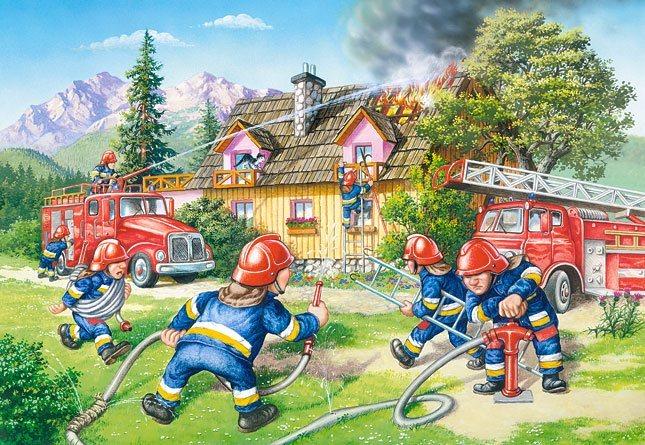 CASTORLAND Podlahové puzzle pro děti Hasiči 40 dílků