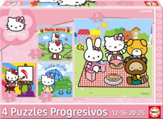 EDUCA Puzzle Hello Kitty 4v1 (12,16,20,25 dílků)