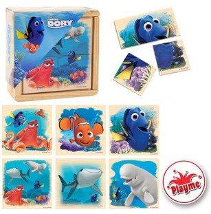 PLAYME Dřevěné puzzle 6v1 Disney Hledá se Dory 6x4 dílky