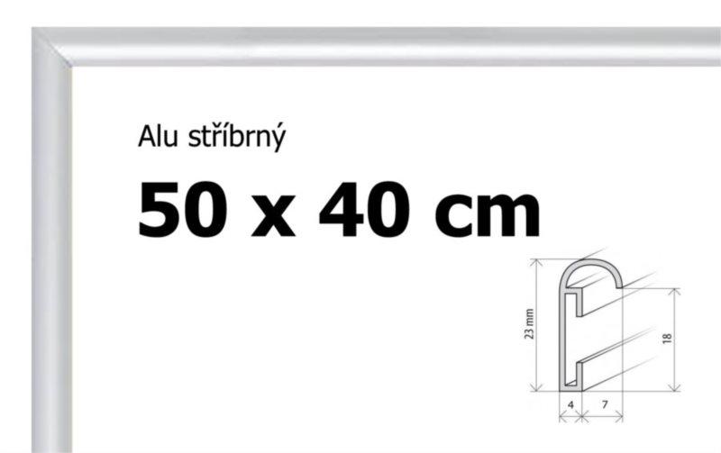 BFHM Hliníkový rám na puzzle 50x40cm - stříbrný