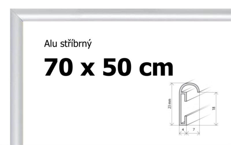 BFHM Hliníkový rám na puzzle 70x50cm - stříbrný