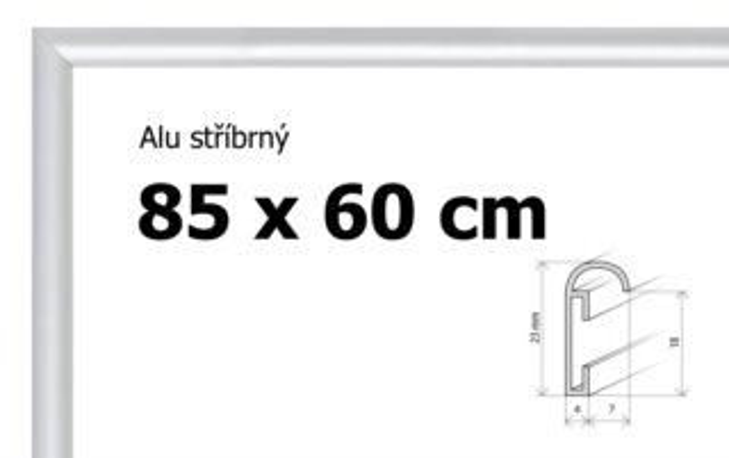 BFHM Hliníkový rám na puzzle 85x60cm - stříbrný