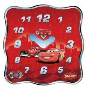 Playme dřevěné dětské výukové puzzle Hodiny: Auta (Cars)
