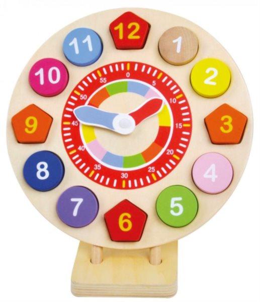 BINO Dřevěné hodiny - vkládačka Čísla