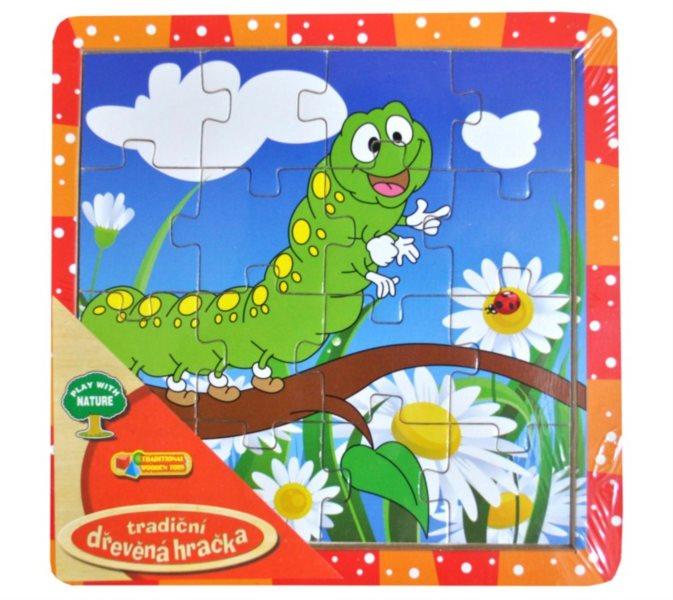 Dřevěné deskové puzzle pro děti - Housenka 16 dílků