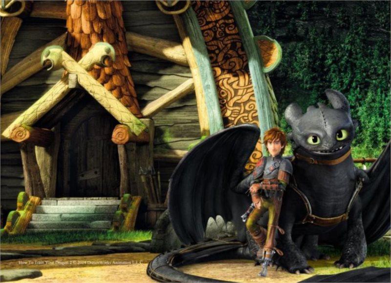Dětské puzzle 30 dílků - Jak vycvičit draka 2: Před chaloupkou