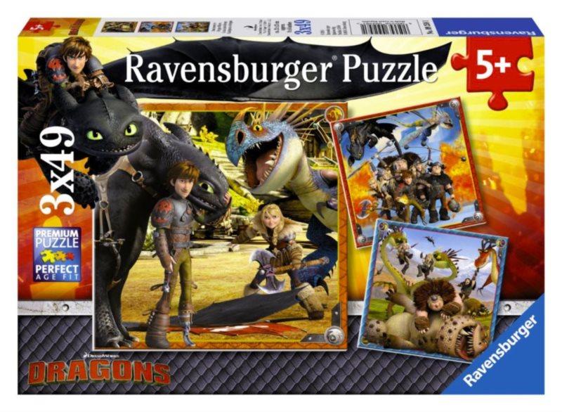 RAVENSBURGER Puzzle Jak vycvičit draka: Dračí jezdci 3x49 dílků