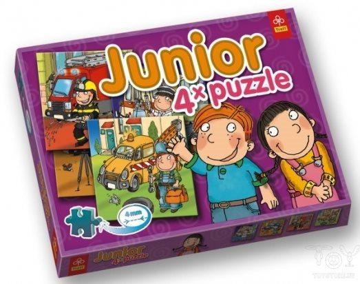 TREFL poškozený obal: Junior puzzle Záchranná vozidla 4v1 (4,6,9,12 dílků)