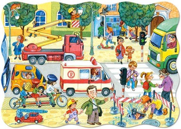 CASTORLAND Podlahové puzzle pro děti Ulice ve městě 20 dílků